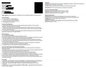 Пример резюме на английском языке, составленный в агентстве ИМ Консалтинг