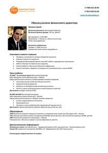 Образец резюме финансового директора