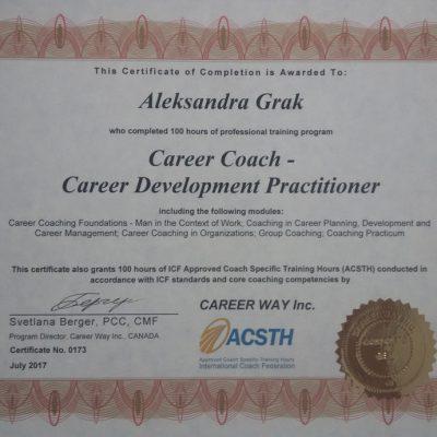 Александра Грак сертификат ICF ACSTH коуч, специалист по развитию карьеры