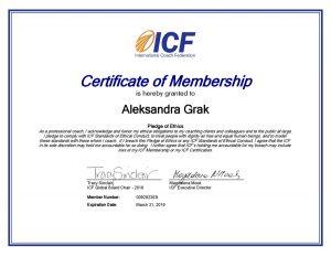 Александра Грак Aleksandra Grak сертификат члена международной федерации коучинга ICF
