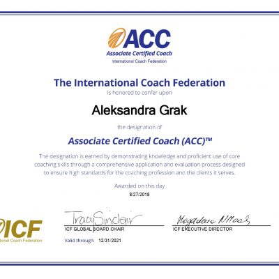 Александра Грак Aleksandra Grak сертификат члена международной федерации коучинга ACC ICF