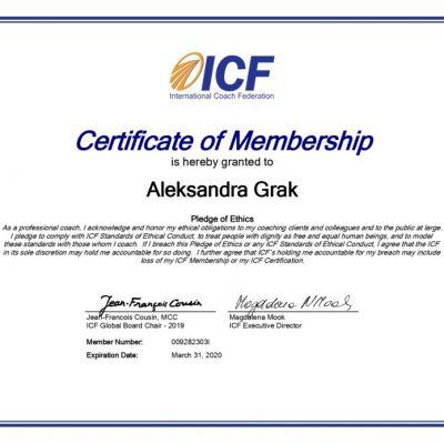 Александра Грак сертификат члена международной федерации коучинга ICF | Aleksandra Grak Certificate of Membership International Coach Federation ICF